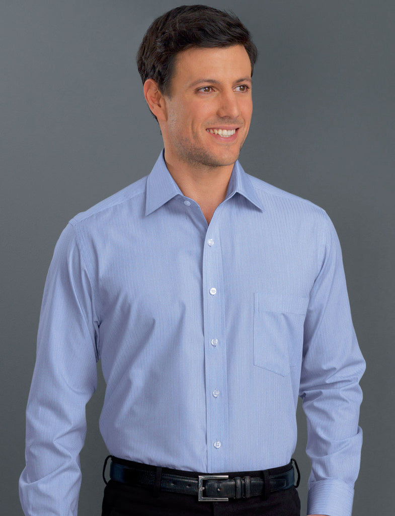John Kevin-John Kevin Men's Long Sleeve Soft Stripe-Blue / 38-Corporate Apparel Online