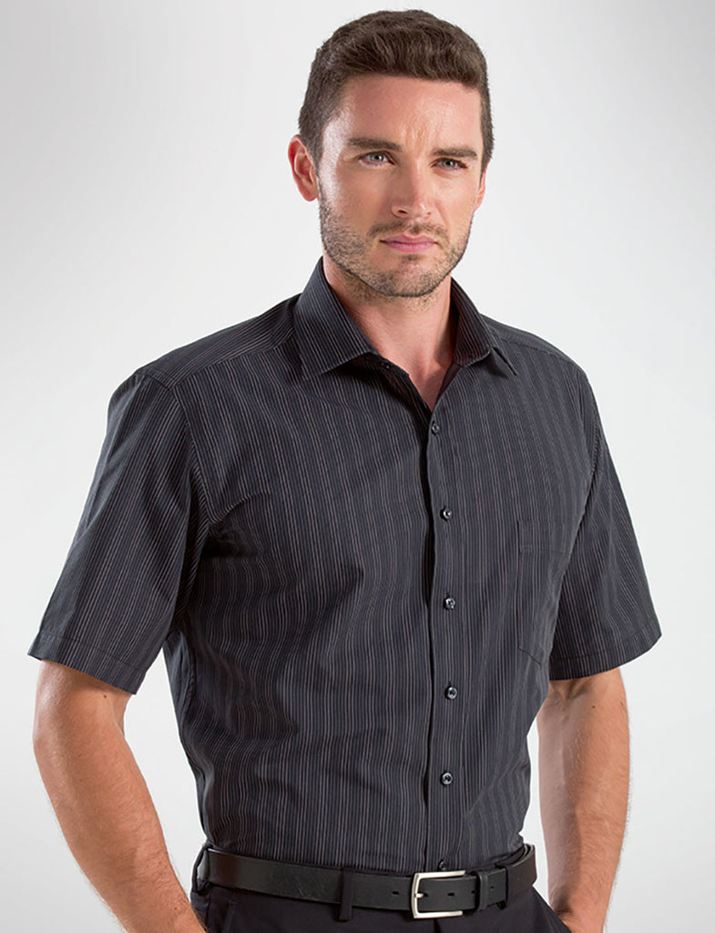 John Kevin-John Kevin Men's Short Sleeve Dark Stripe-38 / Black-Corporate Apparel Online