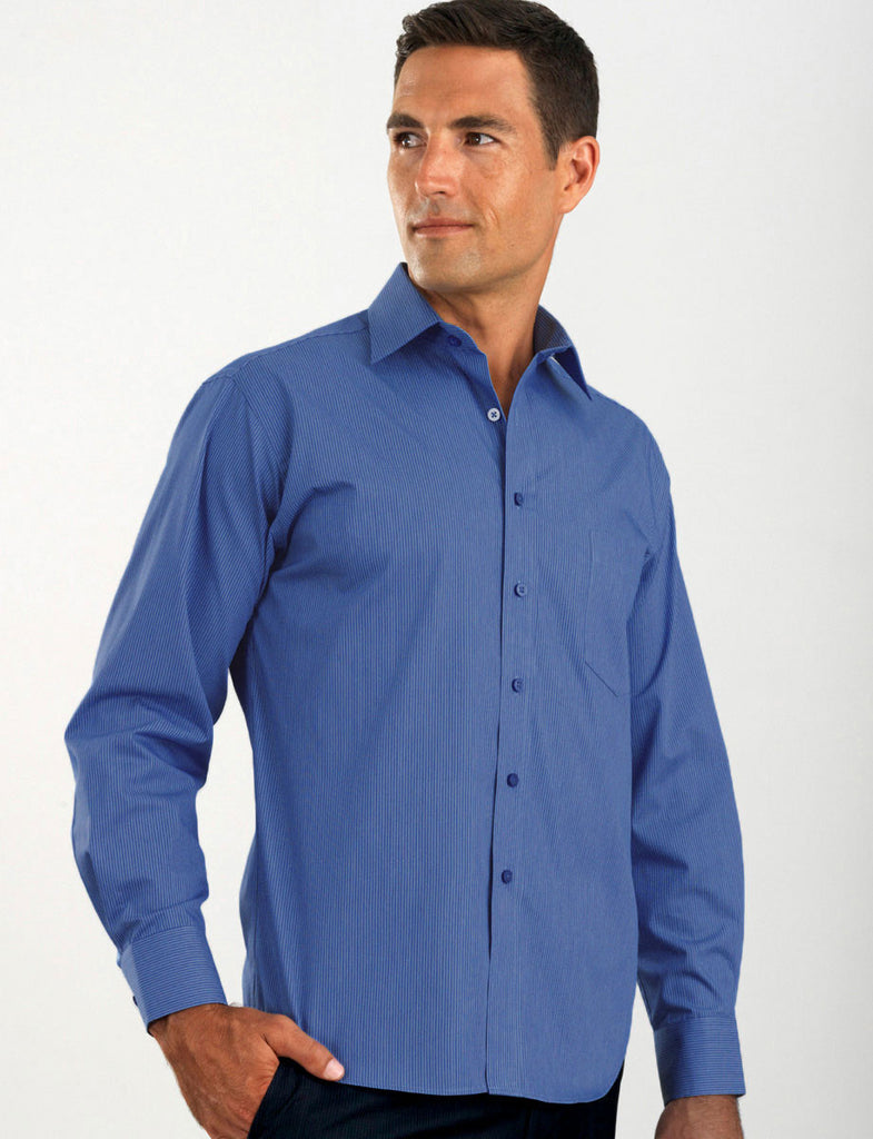 John Kevin-John Kevin Men's Long Sleeve Tonal Stripe-Sapphire / 38-Corporate Apparel Online