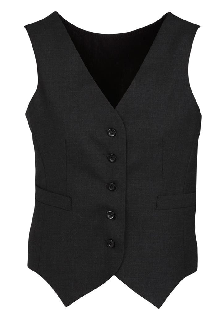 Biz Corporates-Biz Corporates Peaked Ladies Vest with Knitted Back-Black / 4-Corporate Apparel Online - 2