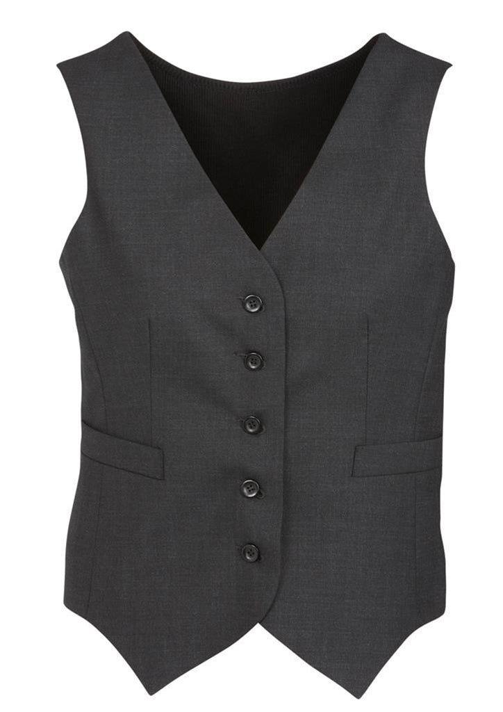 Biz Corporates-Biz Corporates Peaked Ladies Vest with Knitted Back-Charcoal / 4-Corporate Apparel Online - 4