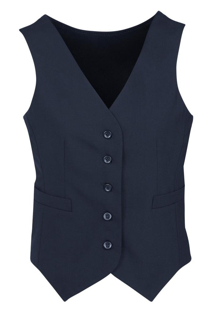 Biz Corporates-Biz Corporates Peaked Ladies Vest with Knitted Back-Navy / 4-Corporate Apparel Online - 6