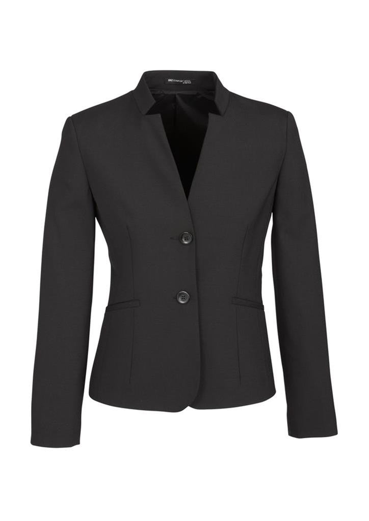 Biz Corporates-Biz Corporates Ladies Short Jacket with Reverse Lapel-Charcoal / 4-Corporate Apparel Online - 3