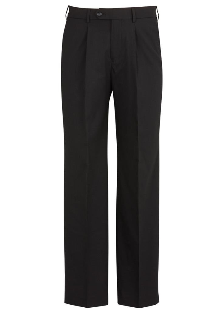 Biz Corporates-Biz Corporates Mens One Pleat Pant Stout-Black / 107S-Corporate Apparel Online - 2