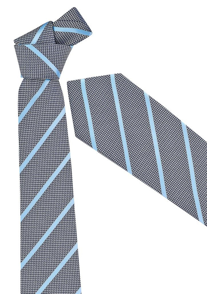 Biz Corporates-Biz Corporates Mens Single Contrast Stripe Tie-Alaskan Blue-Corporate Apparel Online - 2
