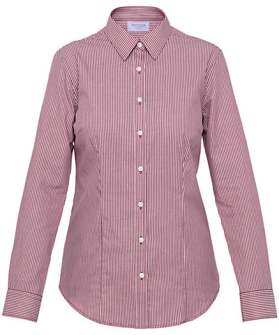 Van Heusen-Van Heusen Ladies Cotton Polyester Yarn Dyed Stripe Classic Fit Shirt-Burgundy / 6-AB-Corporate Apparel Online - 2