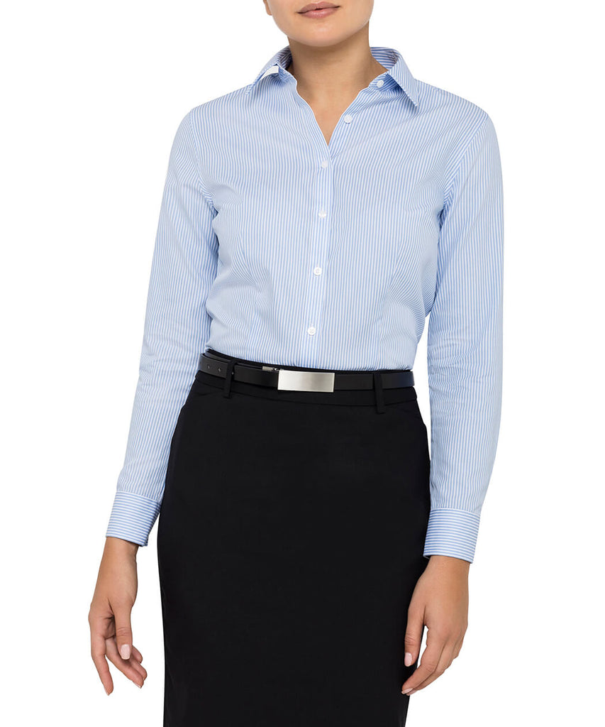 Van Heusen  Women's Classic Fit Shirt Cotton Polyester Yarn Dyed Stripe Easy Care (AWL160)
