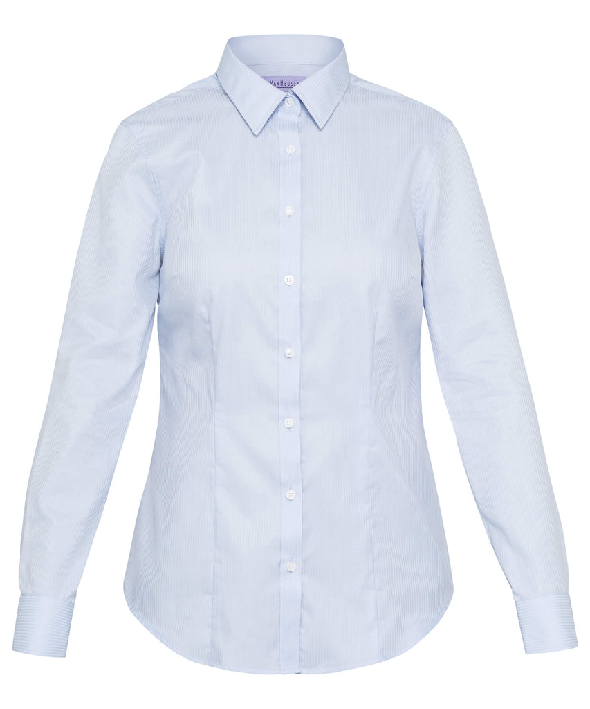 Van Heusen Women's Classic Fit Shirt Cotton Polyester Mini Herringbone Easy Care (AWL81U)