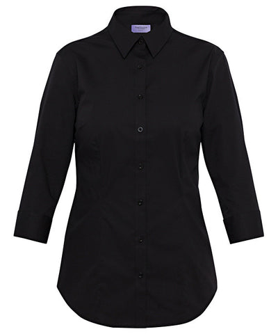Van Heusen-Van Heusen Ladies Cotton Stretch Poplin 3/4 Sleeve Classic Fit Shirt-Black / 6-AB-Corporate Apparel Online - 1