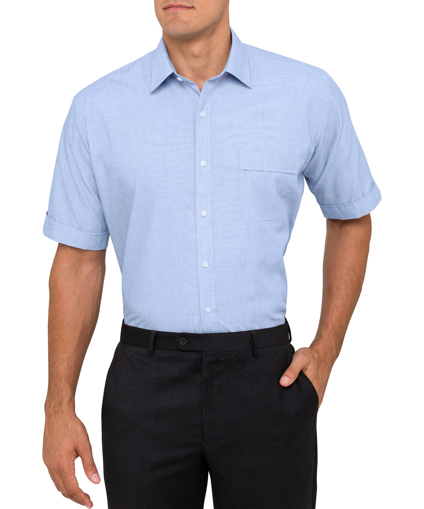 Van Heusen Men's Classic Relaxed Fit Shirt Polyester Cotton Yarn Dyed End On End Easy Care Short Sleeve (B102)