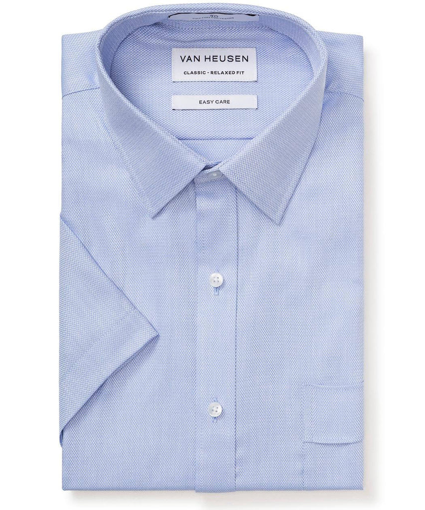 Van Heusen Men's Classic Relaxed Fit Shirt Cotton Polyester Dobby Herringbone Easy Care Short Sleeve (B103)
