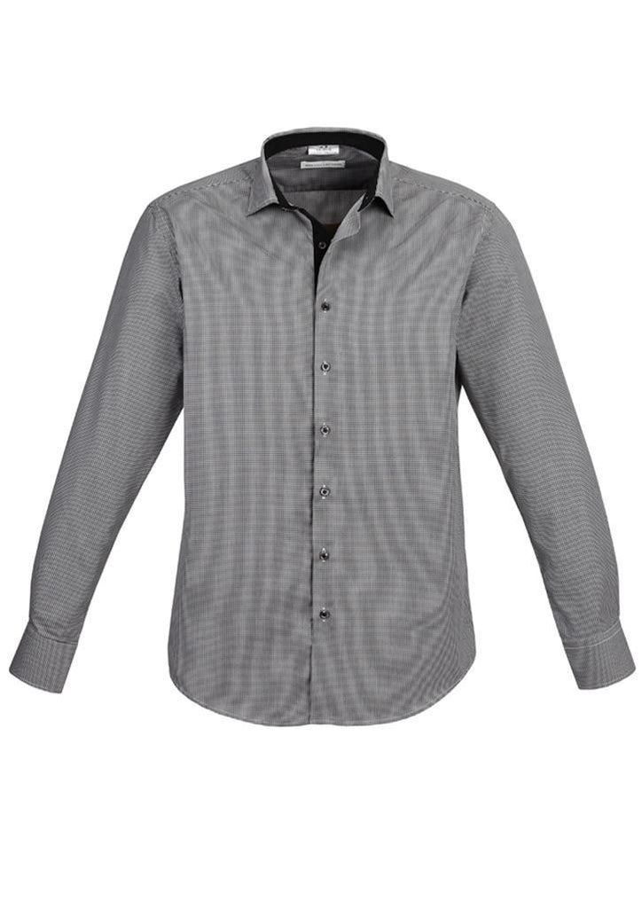 Biz Collection-Biz Collection Edge Mens long sleeve shirt-Black / S-Corporate Apparel Online - 1