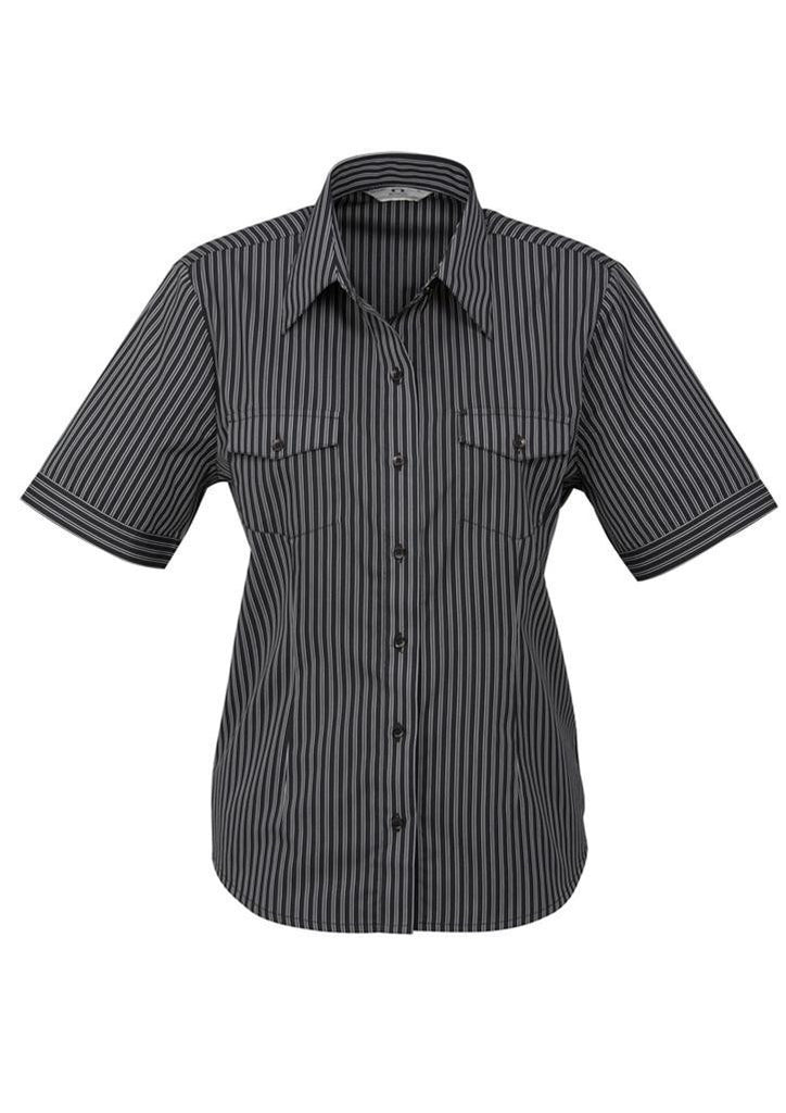 Biz Collection-Biz Collection Ladies Cuban Short Sleeve Shirt-Black / Silver / 6-Corporate Apparel Online - 2