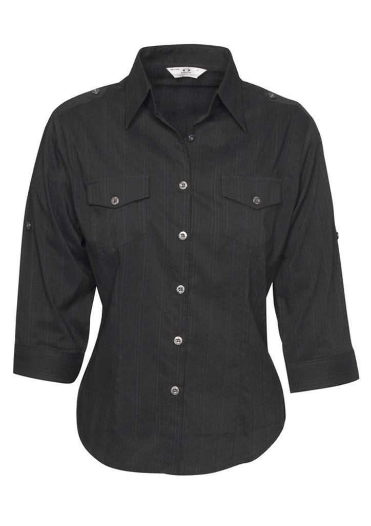 Biz Collection-Biz Collection Ladies Brooklyn 3/4 Sleeve Shirt-Black / 6-Corporate Apparel Online - 2