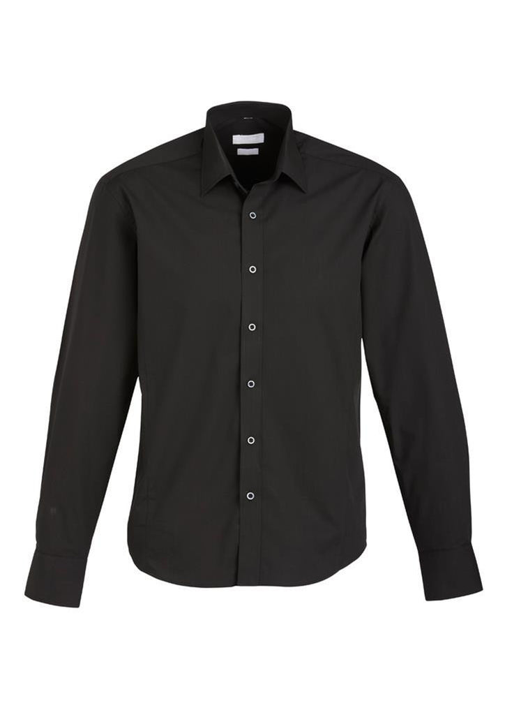 Biz Collection-Biz Collection Mens Berlin Long Sleeve Shirt-Black / S-Corporate Apparel Online - 2