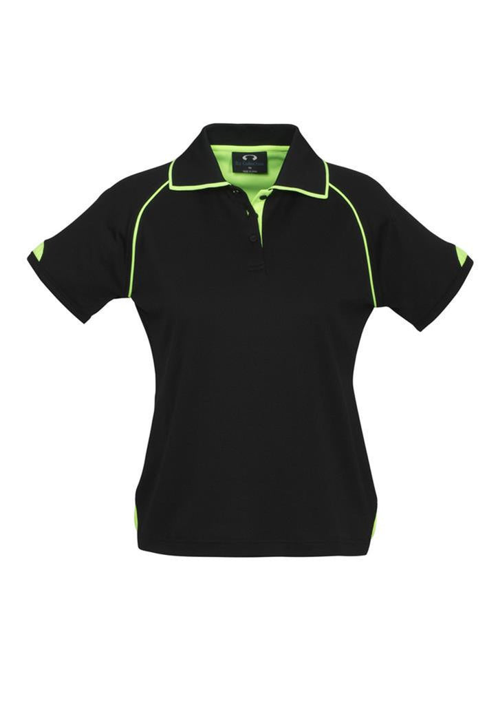 Biz Collection-Biz Collection Ladies Fusion Polo-Black / Fluro Lime / 8-Corporate Apparel Online - 2