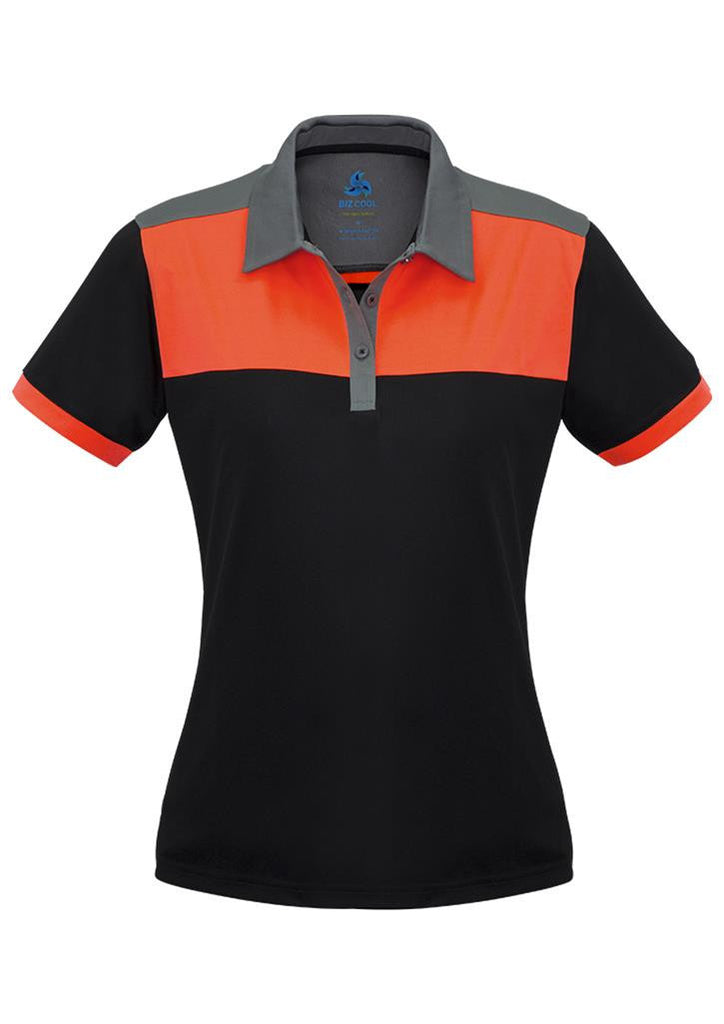 Biz Collection-Biz Collection Ladies Charger Polo-Black/Fluoro orange/Grey / 8-Corporate Apparel Online - 1