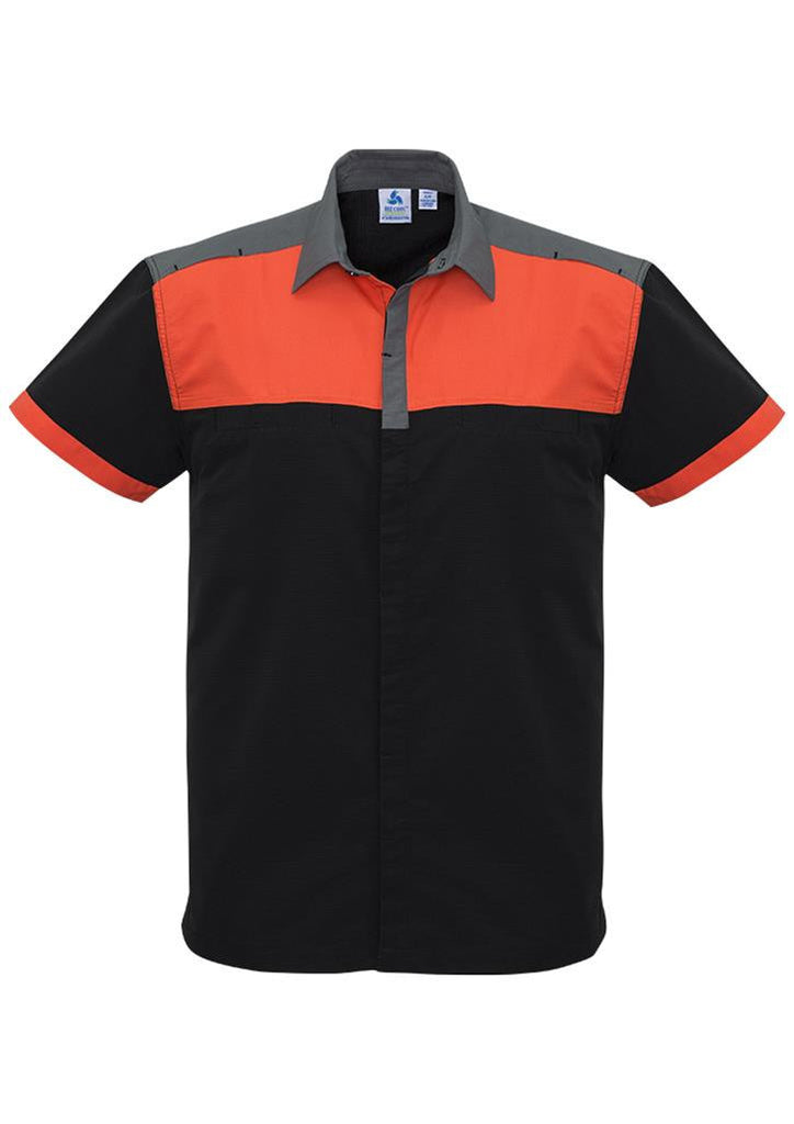 Biz Collection-Biz Collection Mens Charger Shirt-Black/Fluoro orange/Grey / XXS-Corporate Apparel Online - 1