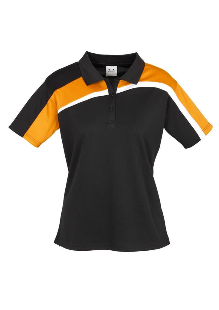Biz Collection-Biz Collection Ladies Velocity polo-Black / Gold / White / 8-Corporate Apparel Online - 3