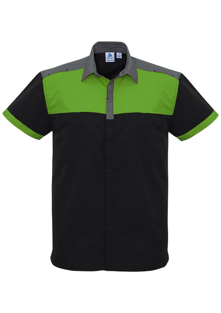 Biz Collection-Biz Collection Mens Charger Shirt-Black/Green/Grey / XXS-Corporate Apparel Online - 3