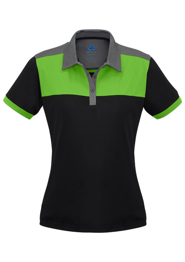 Biz Collection-Biz Collection Ladies Charger Polo-Black/Green/Grey / 8-Corporate Apparel Online - 3