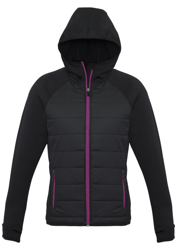 Biz Collection-Biz Collection Ladies Stealth Tech Hoodie-Black/megenta / XS-Corporate Apparel Online - 1