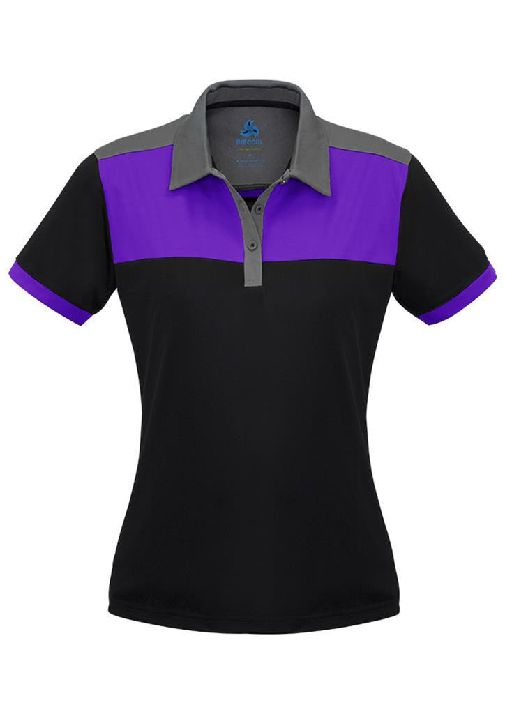 Biz Collection-Biz Collection Ladies Charger Polo-Black/Purple/Grey / 8-Corporate Apparel Online - 4