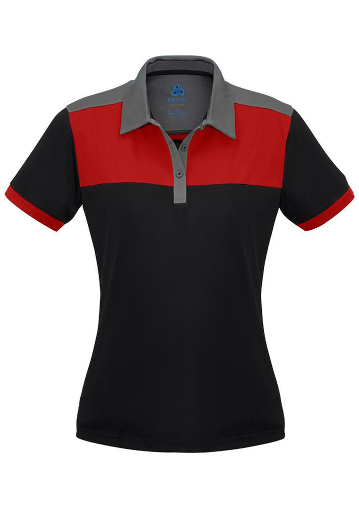 Biz Collection-Biz Collection Ladies Charger Polo-Black/Red/Grey / 8-Corporate Apparel Online - 5