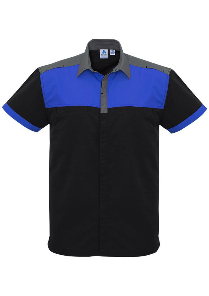 Biz Collection-Biz Collection Mens Charger Shirt-Black/Royal/Grey / XXS-Corporate Apparel Online - 6