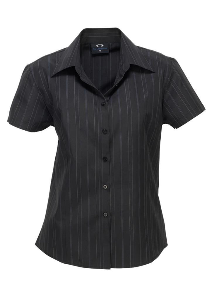 Biz Collection-Biz Collection Ladies New Yorker Shirt-S/S-Black / White / 6-Corporate Apparel Online - 2