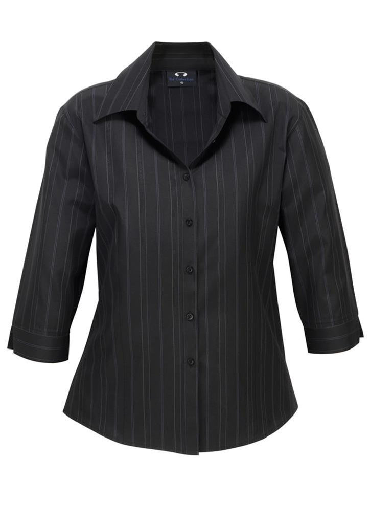 Biz Collection-Biz Collection Ladies New Yorker Shirt-3/4 Sleeve-Black / White / 6-Corporate Apparel Online - 2