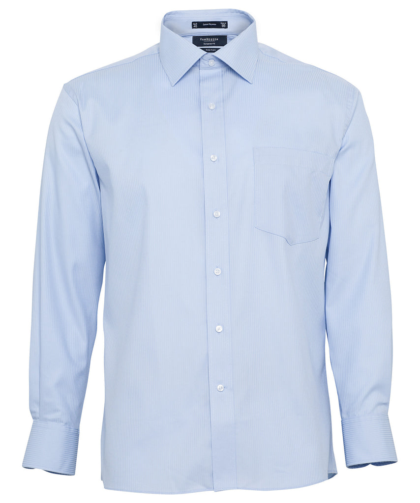 Van Heusen-Van Heusen Gents Cotton Rich Self Stripe European Fit Shirt-Blue / 38-86-Corporate Apparel Online - 2