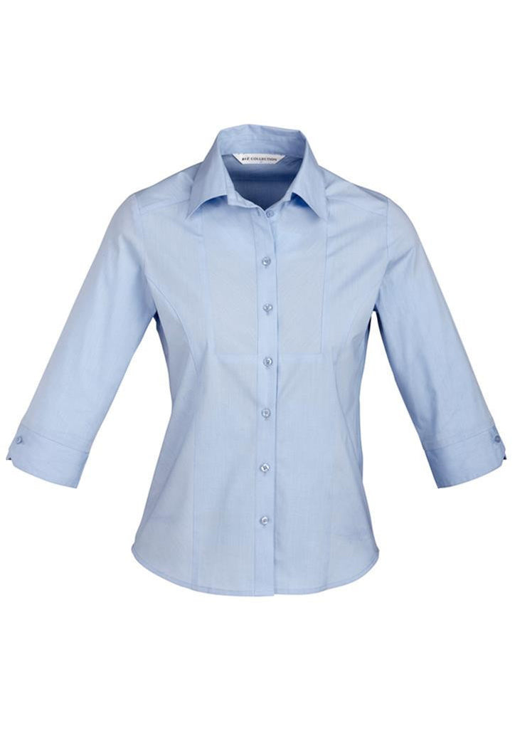 Biz Collection-Biz Collection Ladies Chevron 3/4 Sleeve Shirt-Blue / 6-Corporate Apparel Online - 1