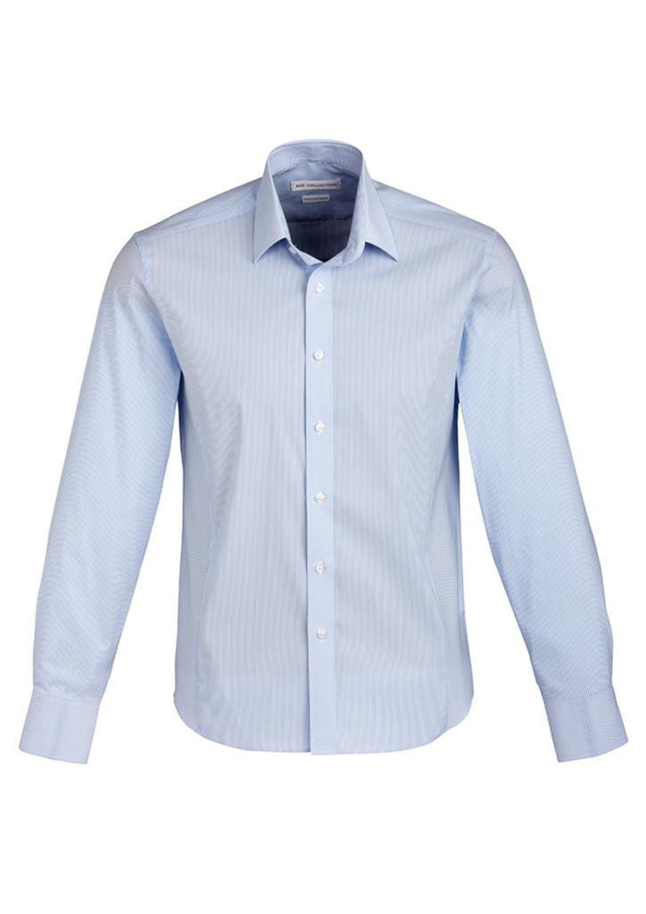 Biz Collection-Biz Collection Mens Berlin Long Sleeve Shirt-Blue / S-Corporate Apparel Online - 3