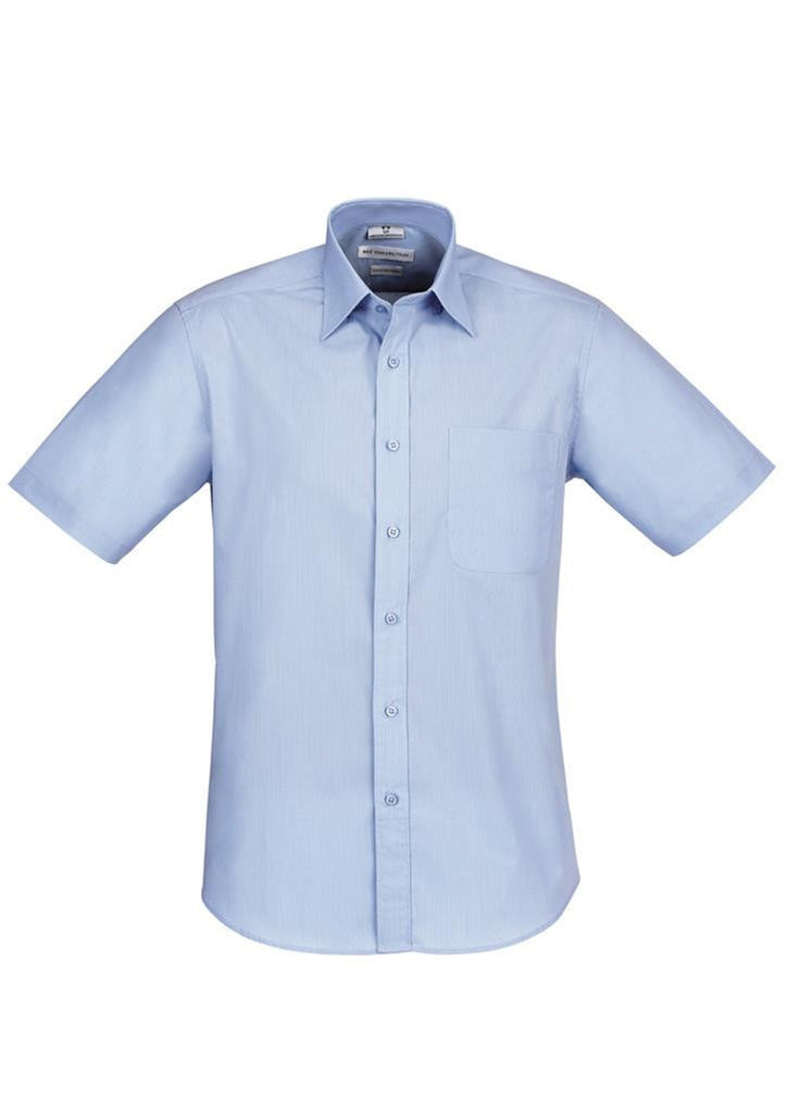 Biz Collection-Biz Collection Mens Chevron Short Sleeve Shirt-Blue / S-Corporate Apparel Online - 2