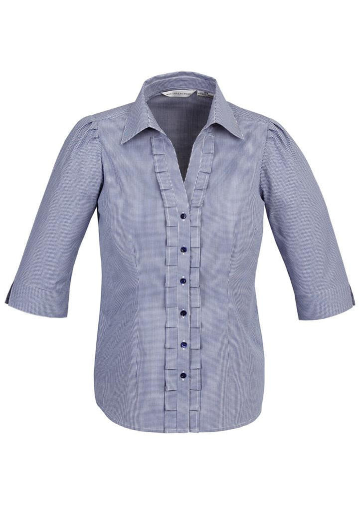 Biz Collection-Biz Collection Edge Ladies 3/4 sleeve shirt-Blue / 6-Corporate Apparel Online - 3