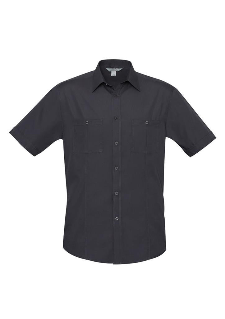 Biz Collection-Biz Collection Mens Bondi Short Sleeve Shirt-Charcoal / XS-Corporate Apparel Online - 4