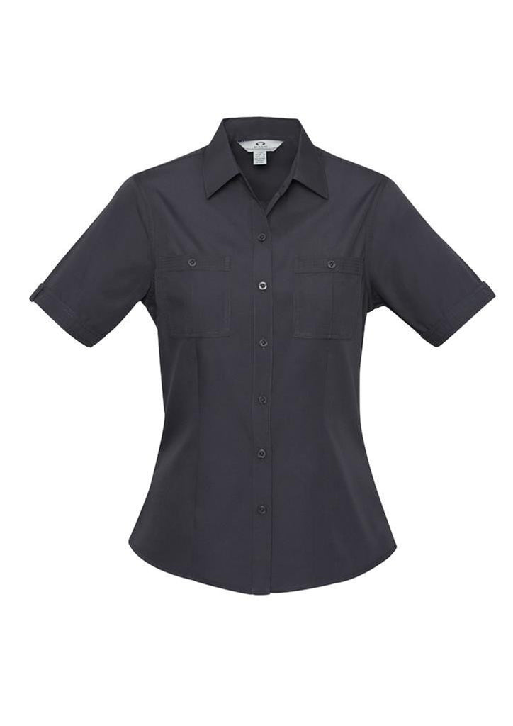 Biz Collection-Biz Collection Ladies Bondi Short Sleeve Shirt-Charcoal / 6-Corporate Apparel Online - 5