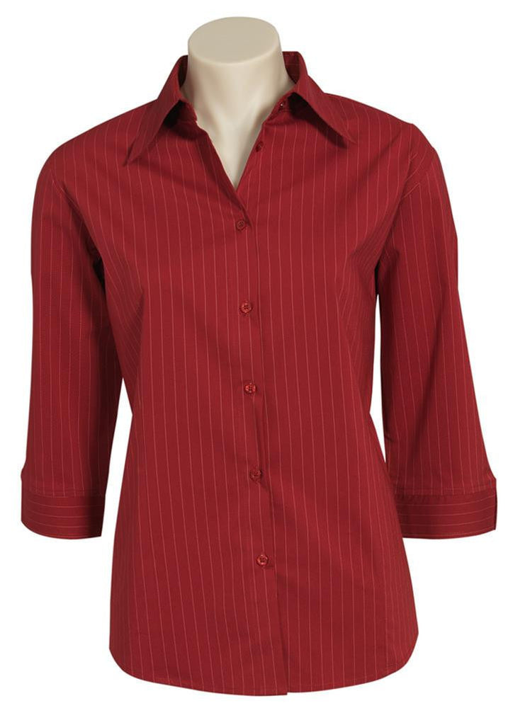 Biz Collection-Biz Collection Ladies Manhattan 3/4 Sleeve Shirt-Cherry / White / 6-Corporate Apparel Online - 3