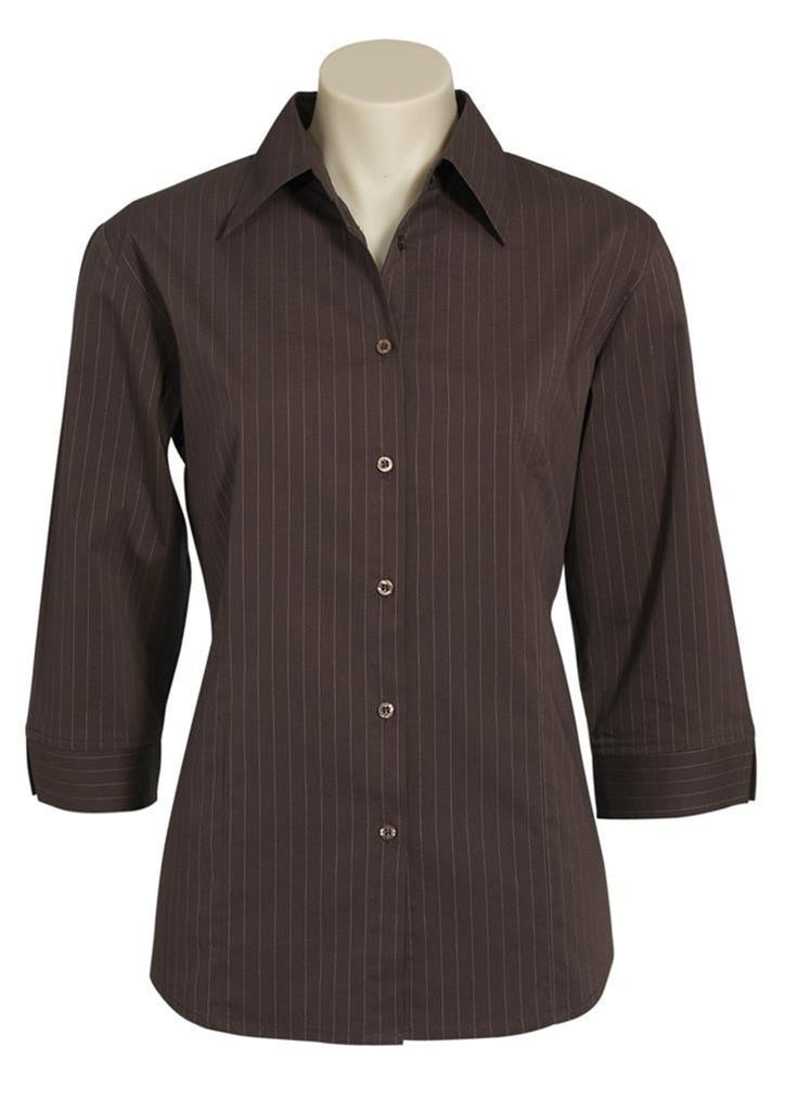 Biz Collection-Biz Collection Ladies Manhattan 3/4 Sleeve Shirt-Chocolate / White / 6-Corporate Apparel Online - 4