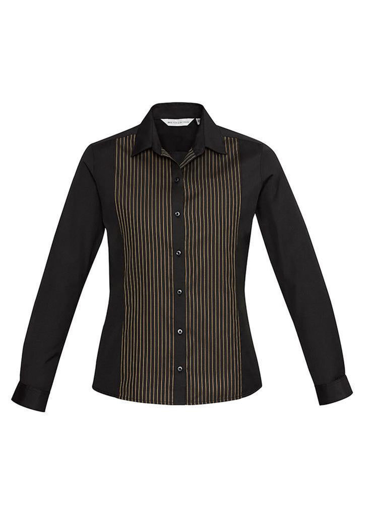 Biz Collection-Biz Collection Ladies Reno Panel L/S Shirt-Black/Copper Gold / 6-Corporate Apparel Online - 3