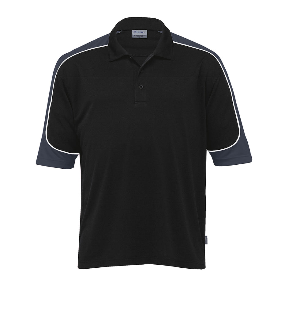 Gear For Life-Gear For Life Men's Dri Gear Challenger Polo(1st 9 Colours)-Black/Charcoal/White / 4XS-Corporate Apparel Online - 2