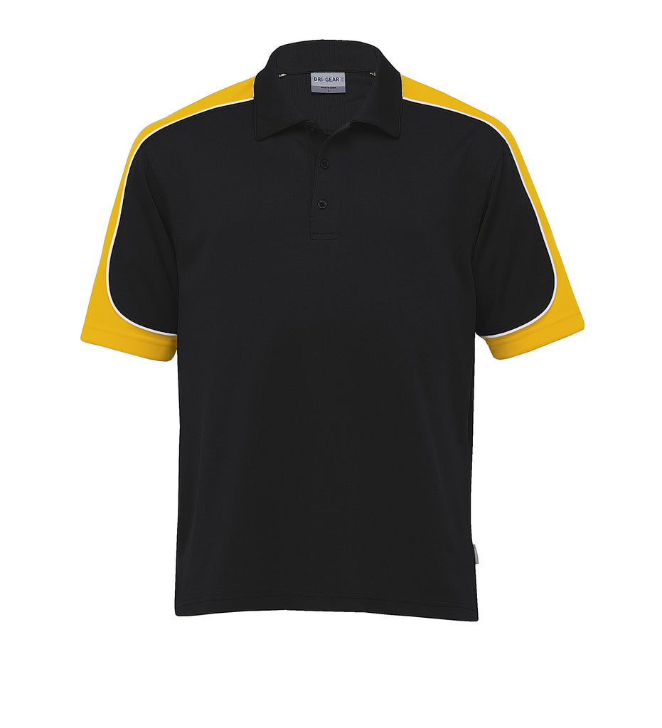 Gear For Life-Gear For Life Men's Dri Gear Challenger Polo(1st 9 Colours)-Black/Gold/White / XS-Corporate Apparel Online - 3
