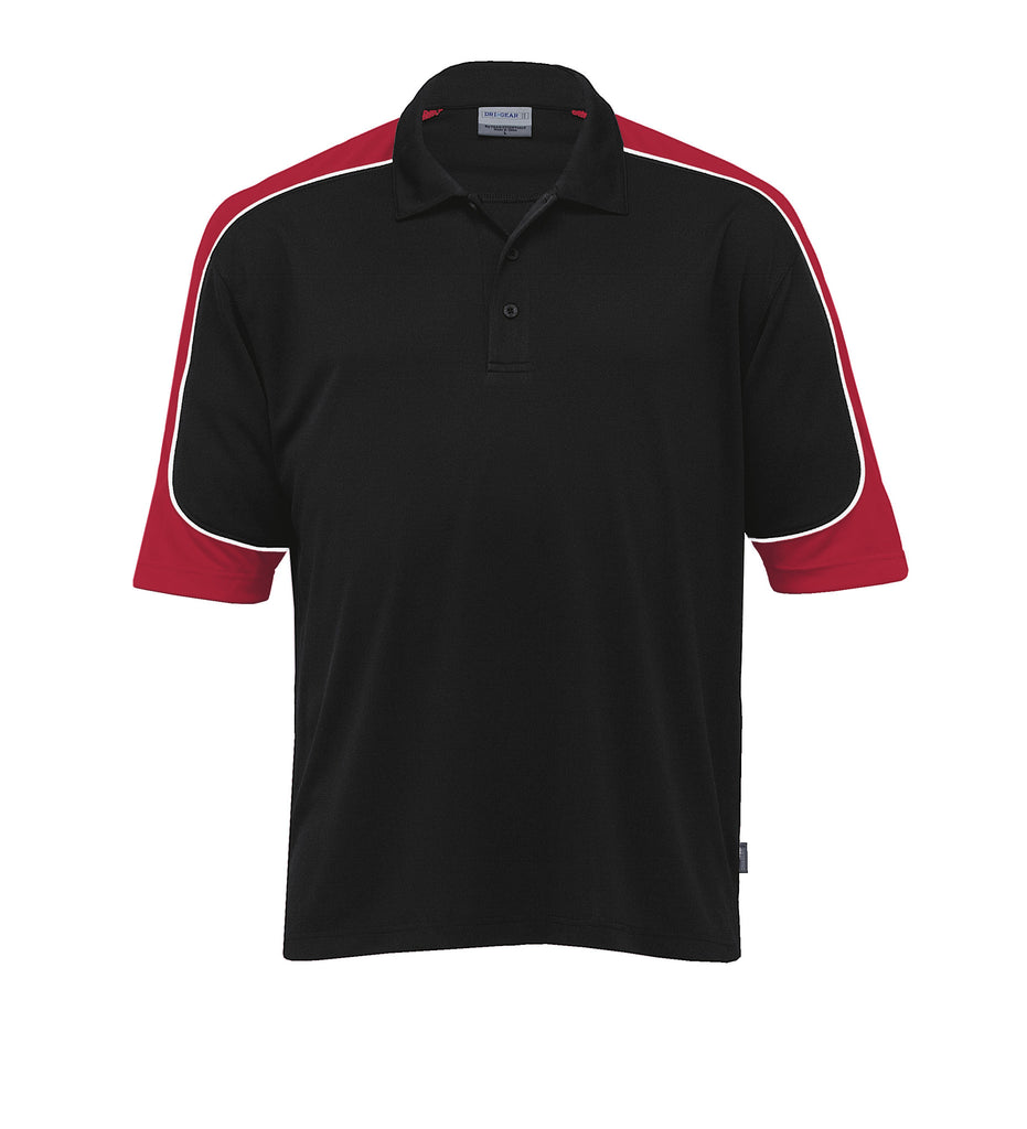 Gear For Life-Gear For Life Men's Dri Gear Challenger Polo(1st 9 Colours)-Black/Red/White / 4XS-Corporate Apparel Online - 4