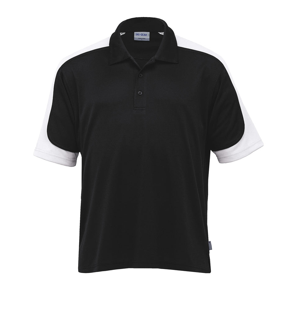 Gear For Life-Gear For Life Men's Dri Gear Challenger Polo(1st 9 Colours)-Black/White/Black / 4XS-Corporate Apparel Online - 6