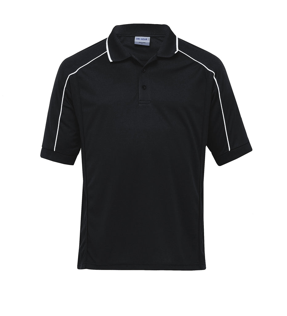 Gear For Life-Gear For Life Gents Dri Gear Eyelet Polo-Black/White / S-Corporate Apparel Online - 2