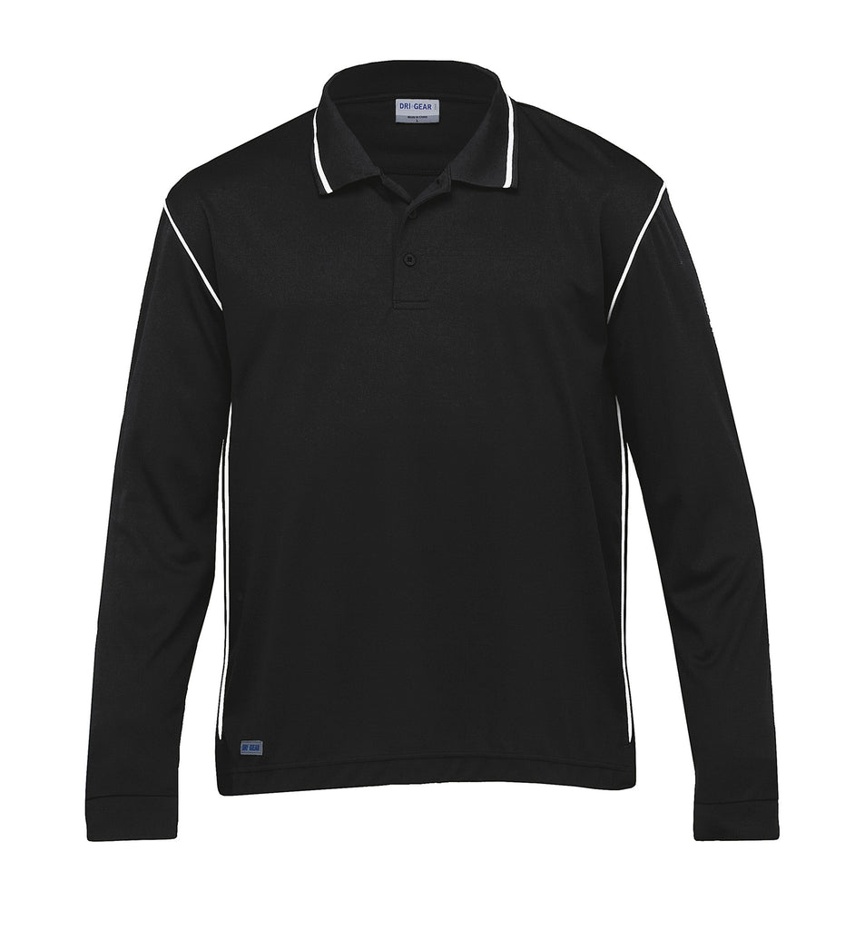 Gear For Life-Gear For Life Dri Gear Long Sleeve Hype Polo-Black/White / XS-Corporate Apparel Online - 2