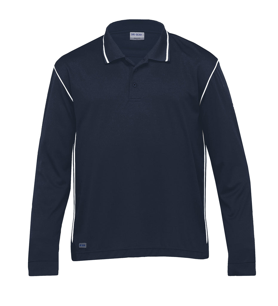 Gear For Life-Gear For Life Dri Gear Long Sleeve Hype Polo-Navy/White / XS-Corporate Apparel Online - 3