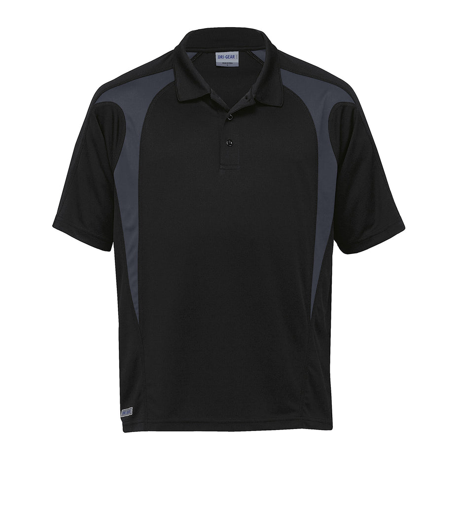 Gear For Life-Gear For Life  Dri Gear Spliced Zenith Polo(1st 8 Colours)-Black/Charcoal / 2XS-Corporate Apparel Online - 2