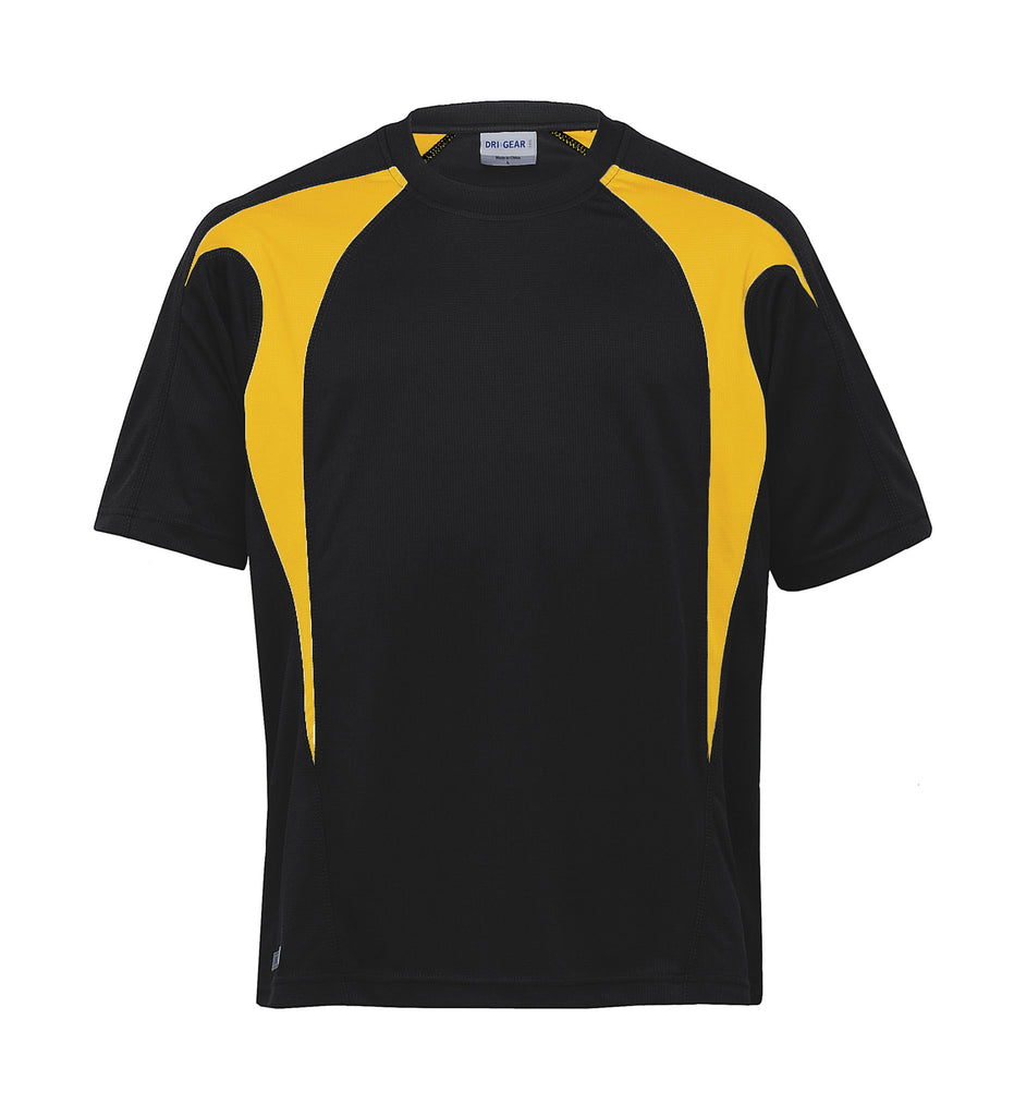 Gear For Life-Gear For Life Unisex Dri Gear Spliced Zenith Tee(1st 7 Colours)-Black/Gold / XXS-Corporate Apparel Online - 5